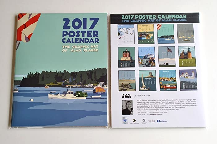 2017 alan claude art travel poster calendar 11x14