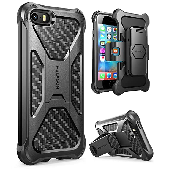 cheap for discount 6900e 53d4d iPhone SE/5s/5 Case, i-Blason Prime [Kickstand] Heavy Duty [Dual Layer]  Combo Holster Cover case with [Locking Belt Swivel Clip] for Apple iPhone  SE ...