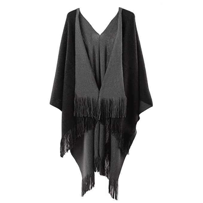8b4f8e7c3 Womens Two Sided Shawl Poncho Cape Pashmina Shawl/Blanket Cape Beach Cover  Ups Plus Size