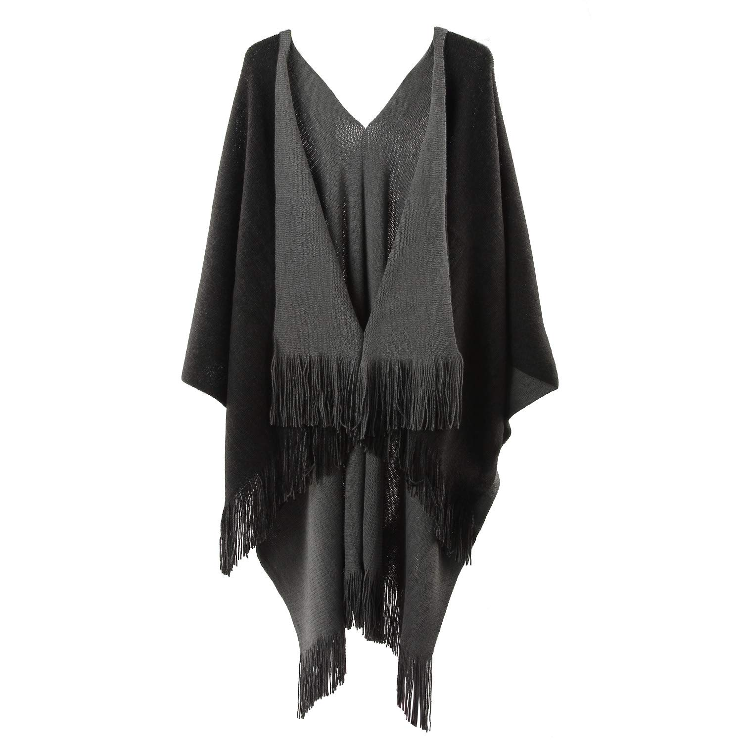 Womens Two Sided Shawl Poncho Cape Pashmina Shawl/Blanket Cape Beach Cover Ups Plus Size,Black and Grey,One Size