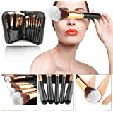 Make up Brushes Professional for Women Synthetic Hair Wood and Metal Handle with Makeup Case Set for Face Eyes Shadow