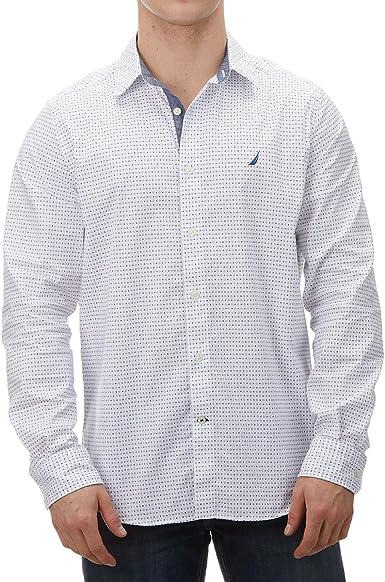 Nautica W93120 Hombre Camisa Blanca con Detalles Azules: Amazon.es: Ropa y accesorios