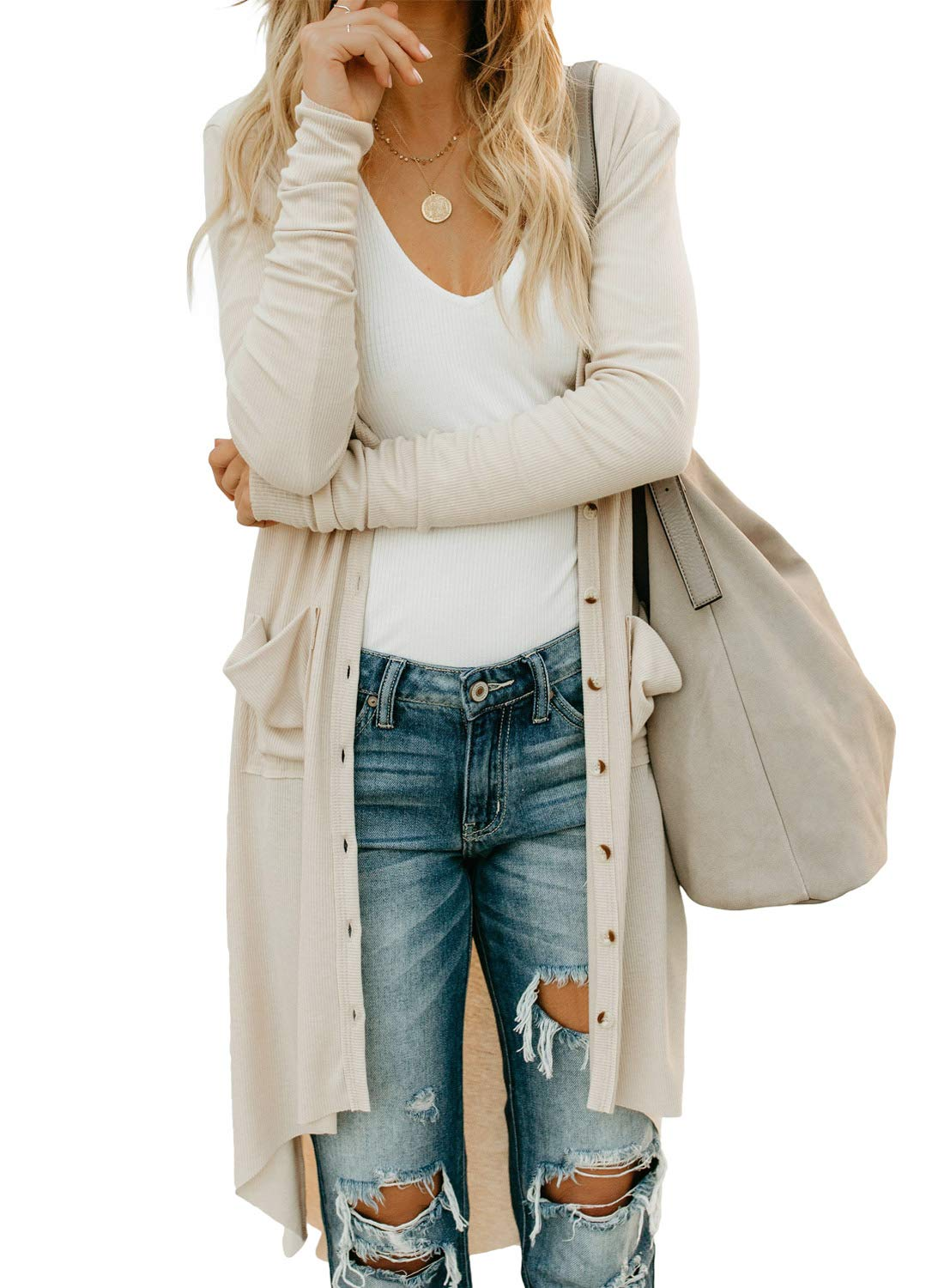 SIDEFEEL Women Long Sleeve Solid Color Button Down Knit Ribbed Cardigans Outwear Small Apricot by SIDEFEEL