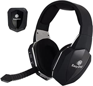 EasySMX Wireless Gaming Headset 2.4G Optical for Xbox One PS4 PS3 Xbox 360 PC Laptop Tablets TV Chat Skype MAC Detachable Mic (A Microsoft Adapter is Needed When Used to Xbox) Black