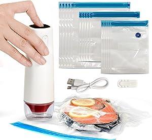 BGEST Food Vacuum Sealer Set, Portable Food Sealer Machine with 15 PCS Sous Vide Bags, Handheld Automatic Vacuum Sealer Machine for Sous Vide Cooking , Food Preservation