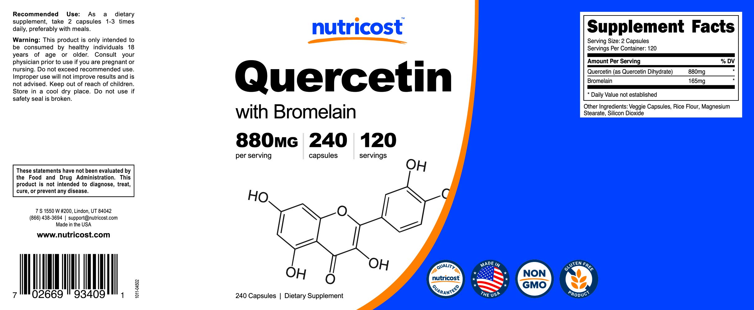 Nutricost Quercetin 800mg, 240 Caps With Bromelain (2 Bottles) by Nutricost (Image #7)