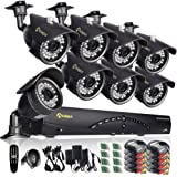 Anlapus 8-Channel 960H Security Camera System DVR and 8 x 900TVL Indoor Outdoor Weatherproof CCTV Bullet Cameras with Mental Housing and Motion Detection