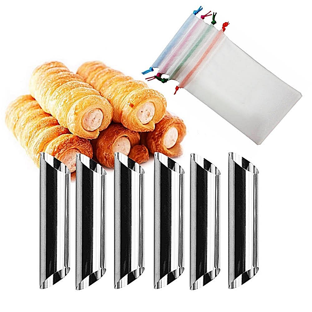 Wewin 12セットCannoliフォームケーキHorn型ステンレススチールCannoliチューブシェルクリームホーンMould Pastry Baking金型withバッグ B07DCCL8VV
