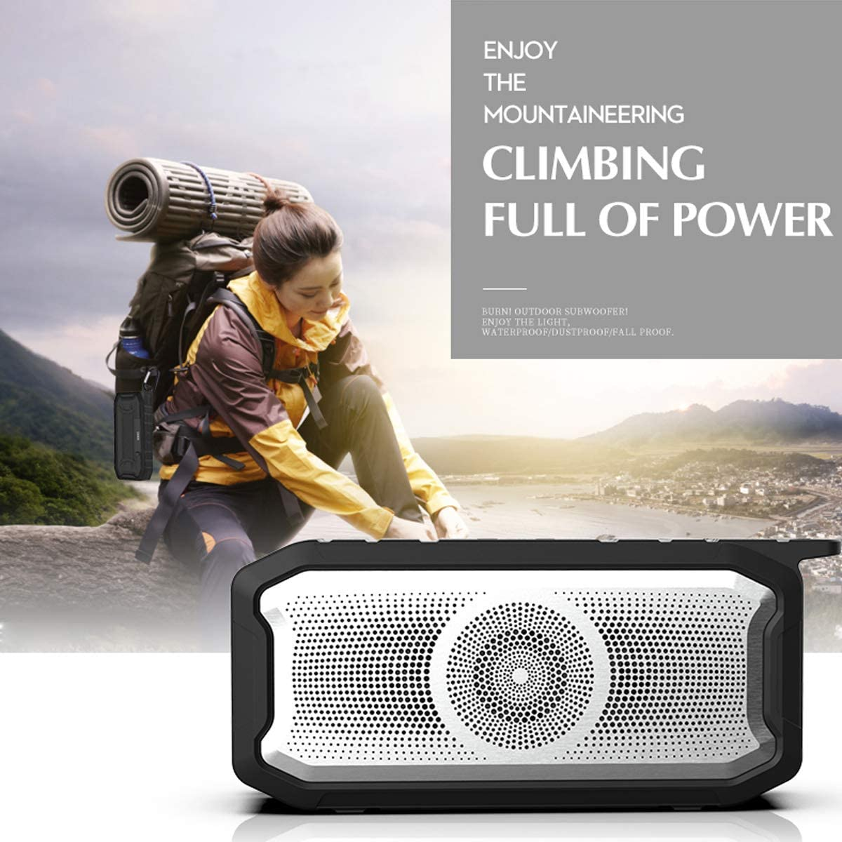 Green Encorsder IPX7 Waterproof Bluetooth Speaker with Enhanced Bass /& Built-in Microphone for Outdoor Sports,Hiking,Travel Bluetooth Speakers