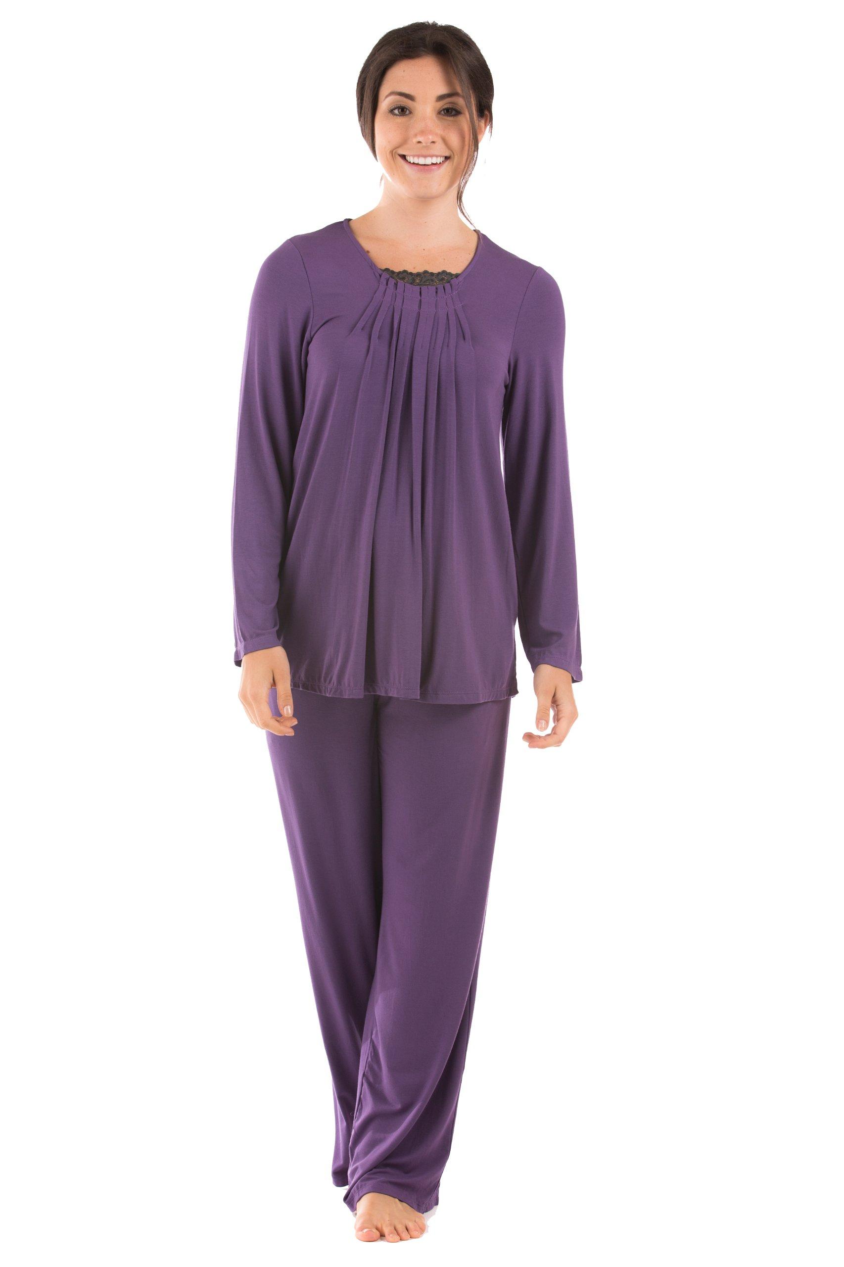 Texere Women's Long Sleeve Pajama Set (Amethyst, Large/Petite) Beautiful Sleepwear for Her WB9993-AMT-LP