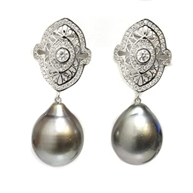 ad65dfa62 Image Unavailable. Image not available for. Color: 14k Gold - Tahitian  Pearl earrings ...