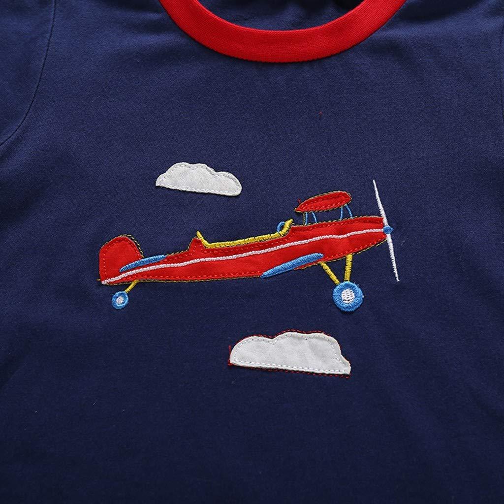 Elastic Striped Short Pants Pajamas Set 1-6 Years Baby Kids Boys Cotton Print Aircraft Short Sleeve Tops Summer T-Shirt Striped Polo Shirt Tops