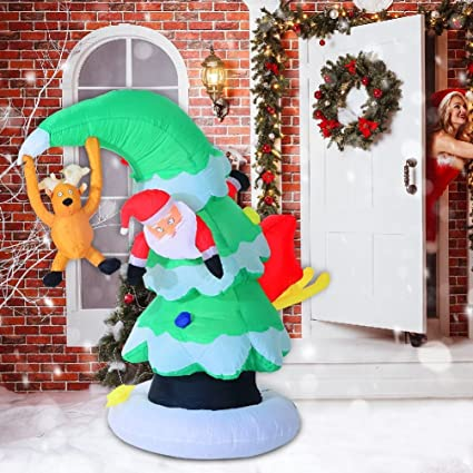 Amazon Com 7 Inflatable Led Lit Santa Claus Stuck In Christmas