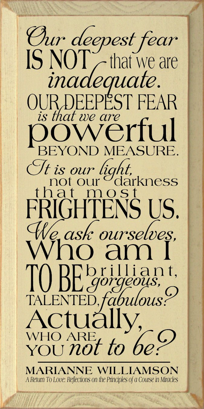 Amazon.com: Marianne Williamson Quote: Wood Sign - Our deepest fear ...