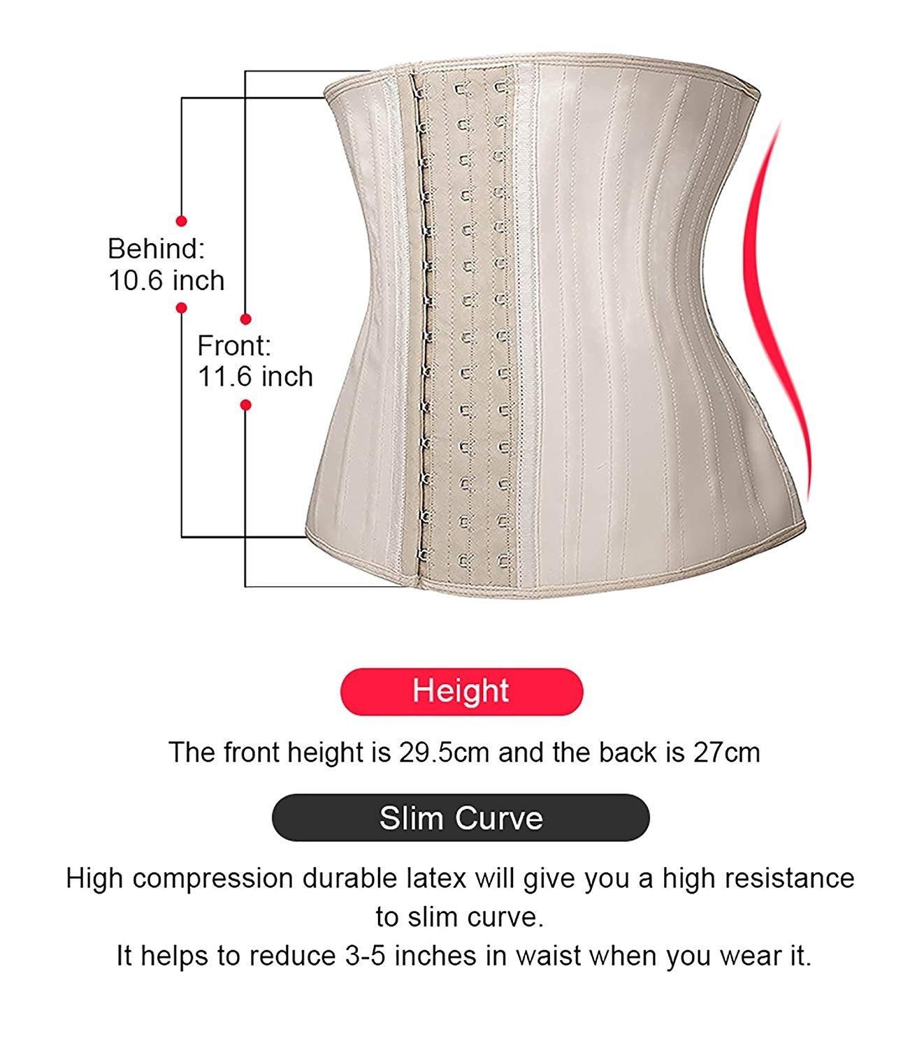 4d193ebbc07 Camellias Women 25 PCS Steel Boned Latex Waist Trainer Workout Waist  Cincher Corset Body Shaper Shapewear Beige