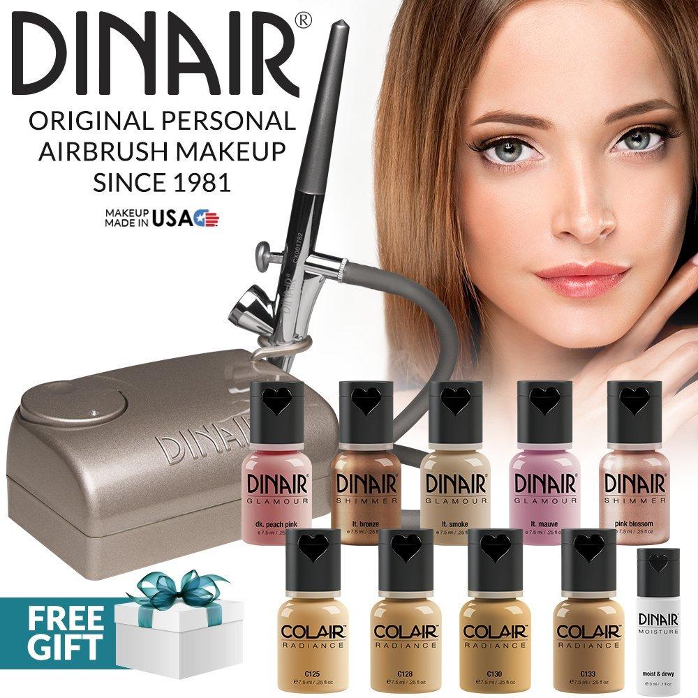 Dinair Airbrush Pro Makeup Kit | Medium | 10pc Make-up Set | Multi-Purpose for Foundation, Blush, Shimmer, Concealer, Eyeliner | Plus Shadow/Brow Stencils