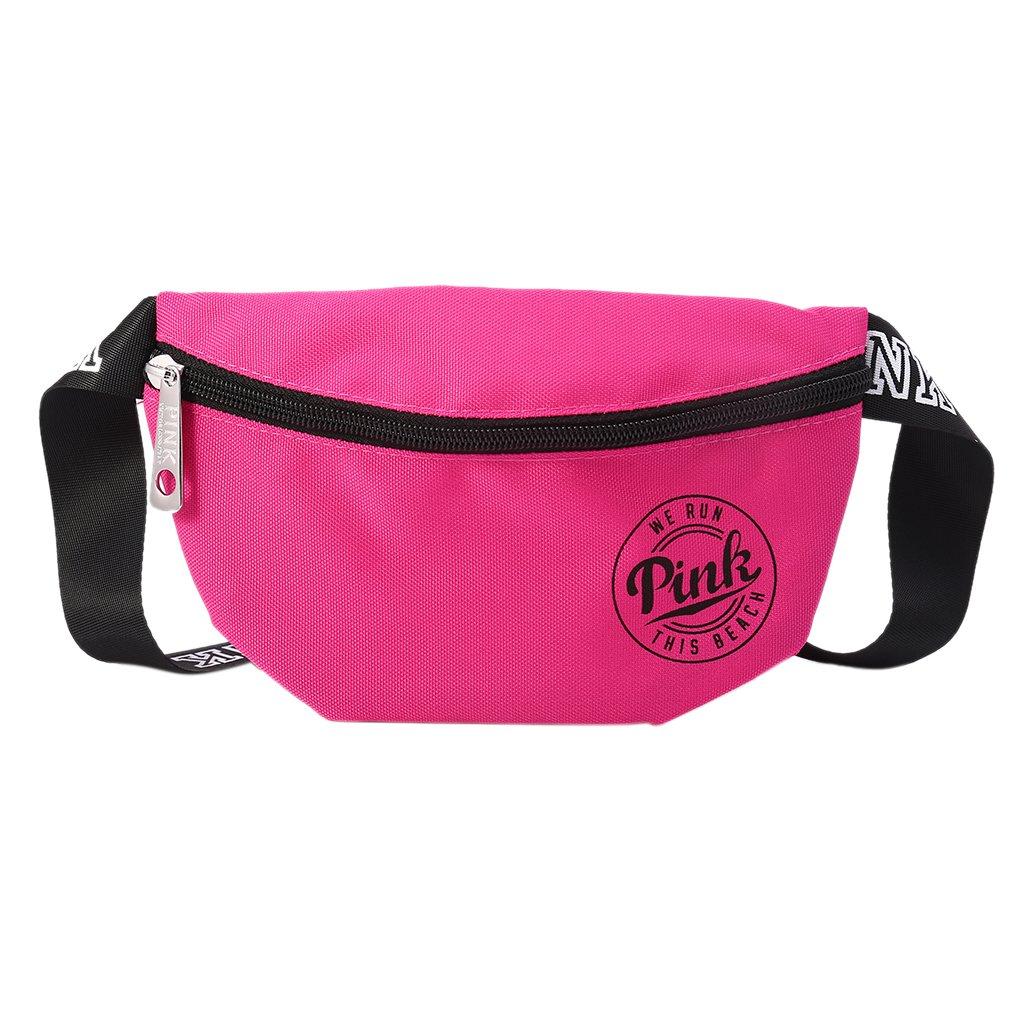 BKID Nylon Waist Pack Zipper Waist Bag Smart Phone Sport Case Travel Fanny Bag Card Pocket (Hot pink)