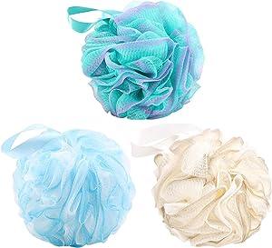 Bath Loofahs Sponge (65g/pcs) Shower Mesh Pouf Loofa Body Scrubber Ball, Pack of 3