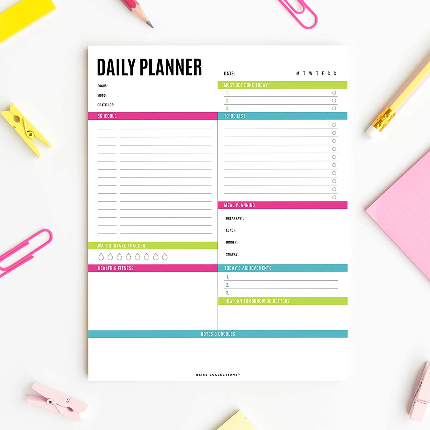 Productivity Tracker Notes Ideas Scheduler Vibrant Calendar Bliss Collections Daily Planner with 50 Undated 8.5 x 11 Tear-Off Sheets Organize Tasks To Do Lists Goals Organizer Meal Prep