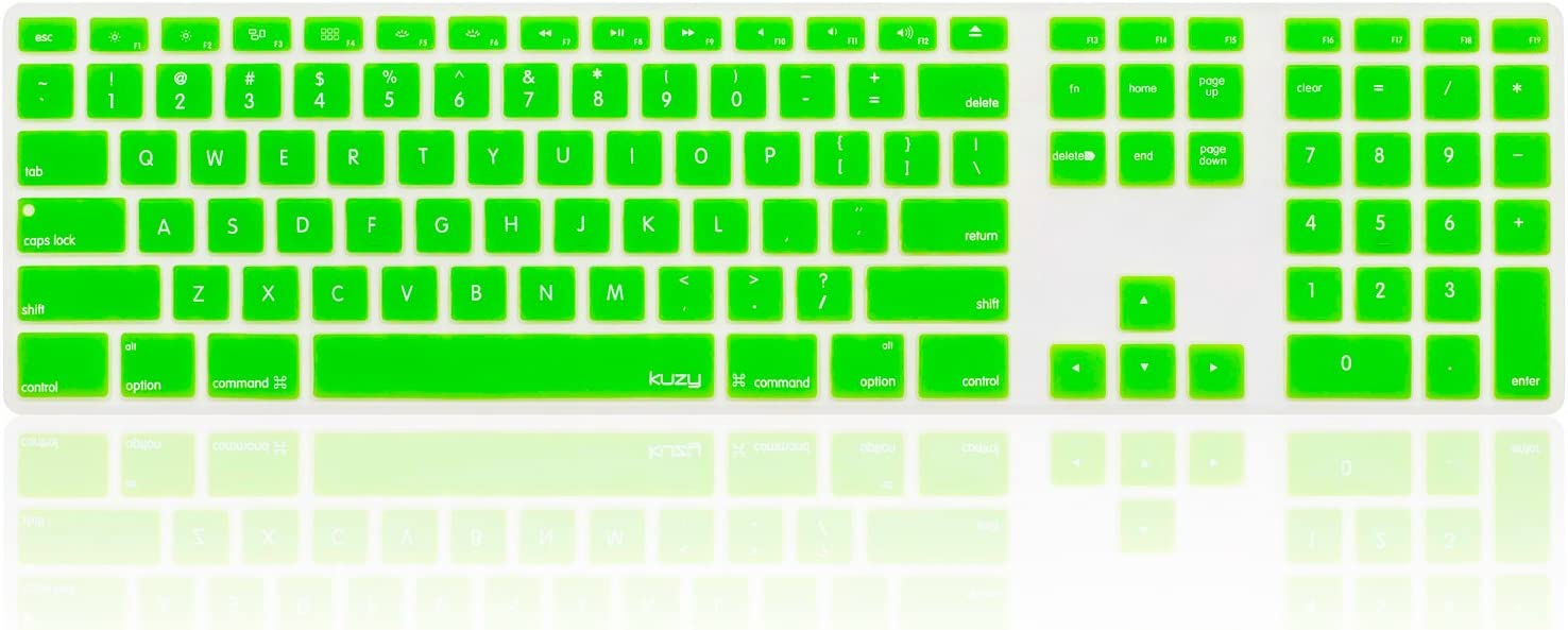 Kuzy - Full Size Green Keyboard Cover Skin Silicone for Apple Keyboard with Numeric Keypad Wired USB for iMac - Green