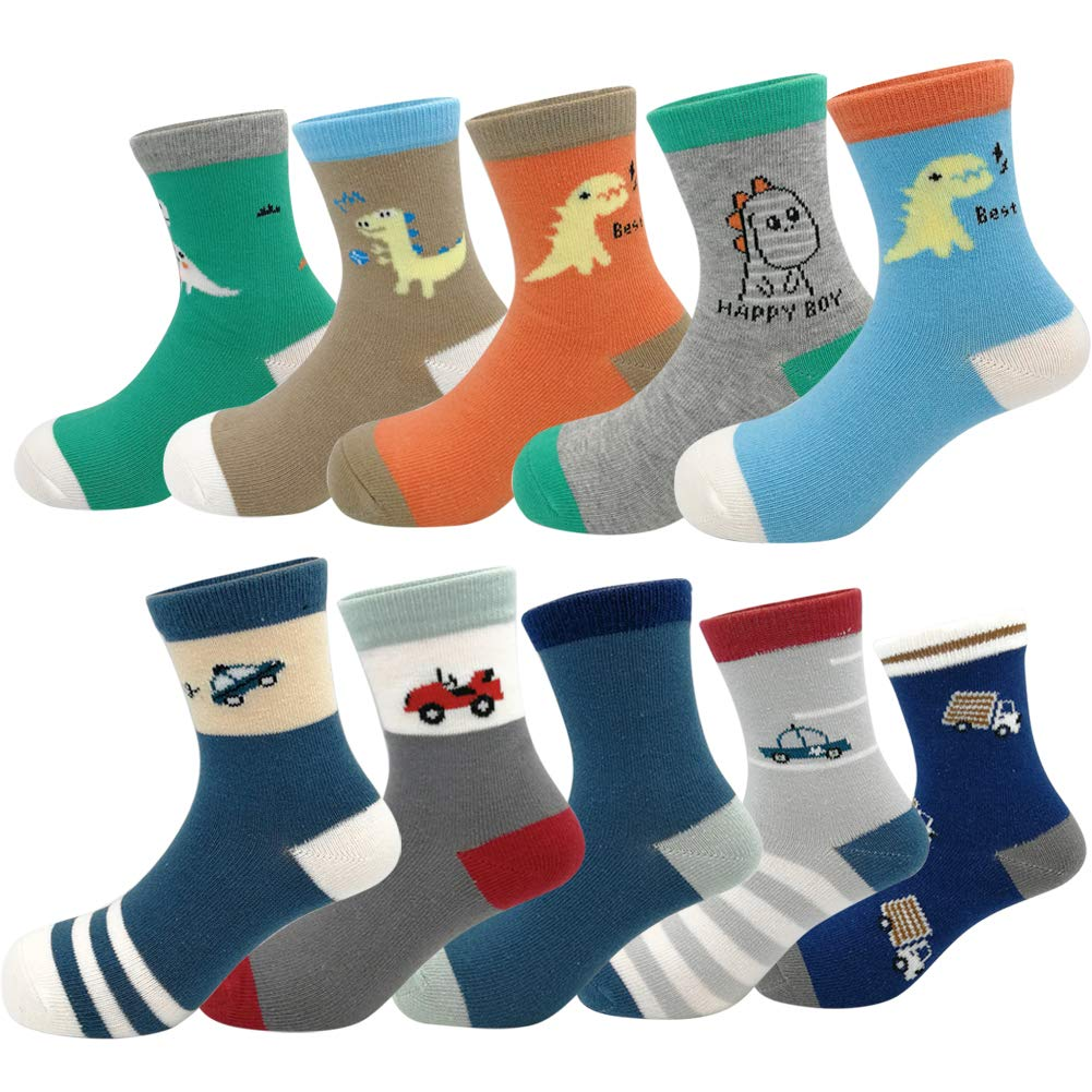 Baby Toddler Kids Little Boys Fashion Cotton Crew Socks 10 Pack (L(5-7T), Colorful)