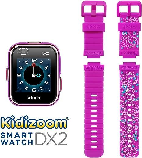 VTech KidiZoom Smartwatch DX2 Camouflage (Amazon Exclusive) & KidiZoom Smartwatch DX2 Special Edition Floral Birds with Bonus Vivid Violet Wristband
