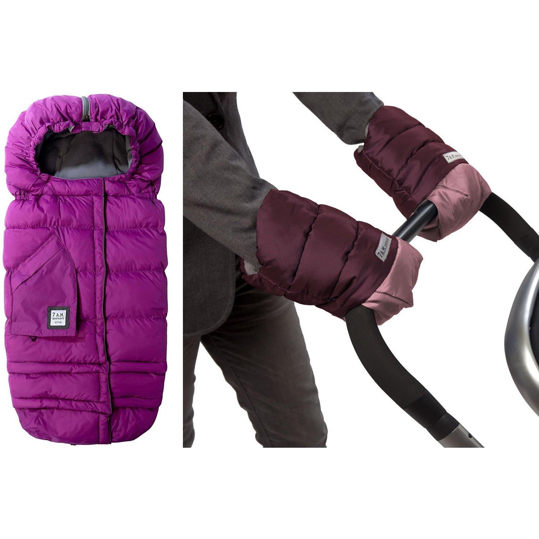 7 A.M. Enfant Blanket Evolution With WarmMuffs Stroller Gloves, Grape/Metallic Plus