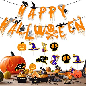 Trick or Treat Banner | Happy Halloween Burlap Banner Cake Topper Mantel Indoor Outdoor Decoration Decor for Mantle Fireplace Home Office Party Decorations Supplies(Black and Orange Halloween Banners)