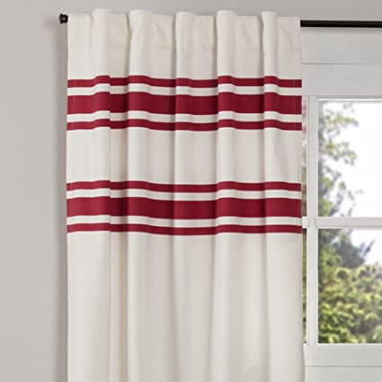 Silo Hill Red Stripe Panel Curtains Set Of 2 84quot Long Farmhouse