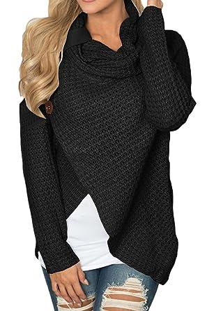 64bc3c626dec Amazon.com  Women s Cowl Neck Knitted Hooded Wrap Cardigan Split ...