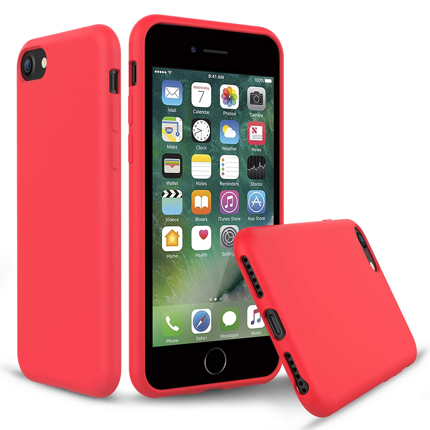 on sale 2dbc0 a4443 PENJOY Silicone Case for Apple iPhone 6 / 6s / 7/8, Full Body Protection  Silicon Cases Support Wireless Charging Slim Rubber Cover, Red