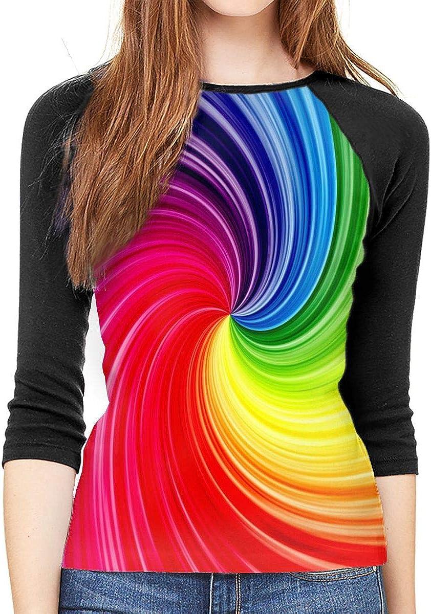 YSPF Women's Psychedelic LGBT Pride Casual 3/4 Sleeve Baseball Tshirt Raglan Jersey Tees