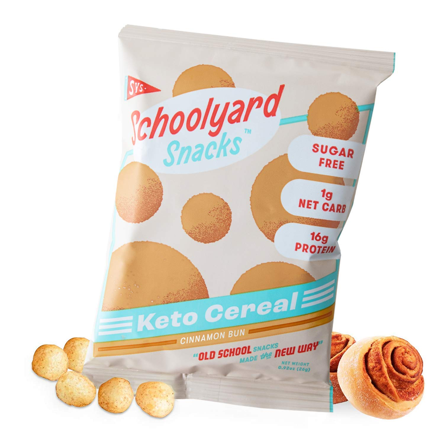 Schoolyard Snacks Low Carb Keto Cereal - Cinnamon Bun - High Protein - All Natural - Gluten & Grain-Free - Healthy Breakfast - Low Calorie Food - 12 Pack Single Serve Bags - 100 Calories Snack