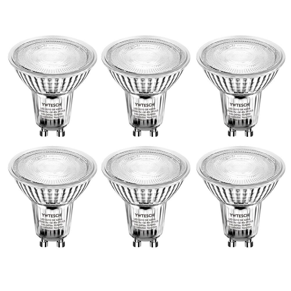 Ampoule LED GU10 5W,YWTESCH MR16 50W 420lm LED Lampe Bulb Remplace Les Ampoule Halogène,2700K Blanc Chaud,40° Larges Faisceaux,Spot LED Light Non-dimmable,Culot GU10-Lot de 6 [Classe énergétique A +]