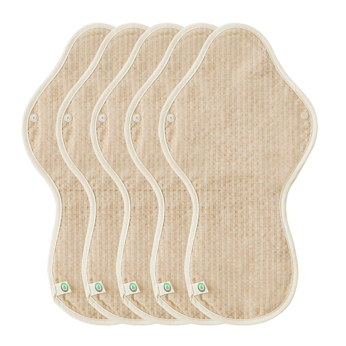 THINKECO [5 Pads] Organic-Hanji Reusable Menstrual Cotton Pads, Sanitary Napkins (XL) by THINKECO (Image #1)