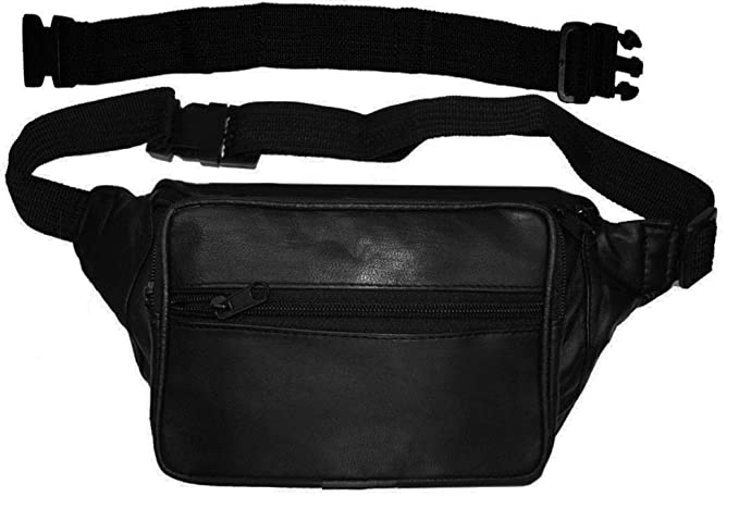 3986a17ff455 AG Wallets Biker's Leather Fanny Pack Pouch With 18