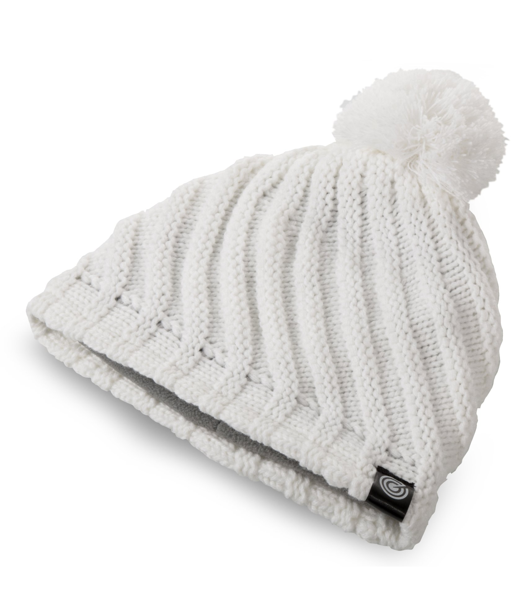 Stylish Pom Pom Beanie Hat - Warm Cozy Fleece Lining - White - One Size