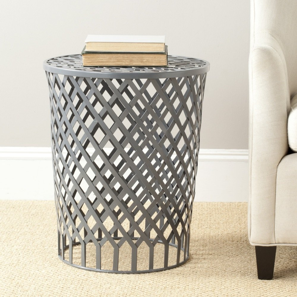 Safavieh Home Collection Thor Grey Welded Iron Strips Stool