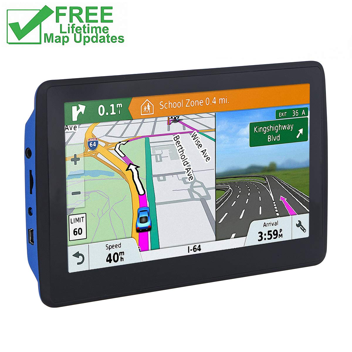 7 inch Car GPS, Navigation System Lifetime Map Updates Touch Screen Real Voice Direction Vehicle GPS Navigation for Cars (black-001) by Highsound