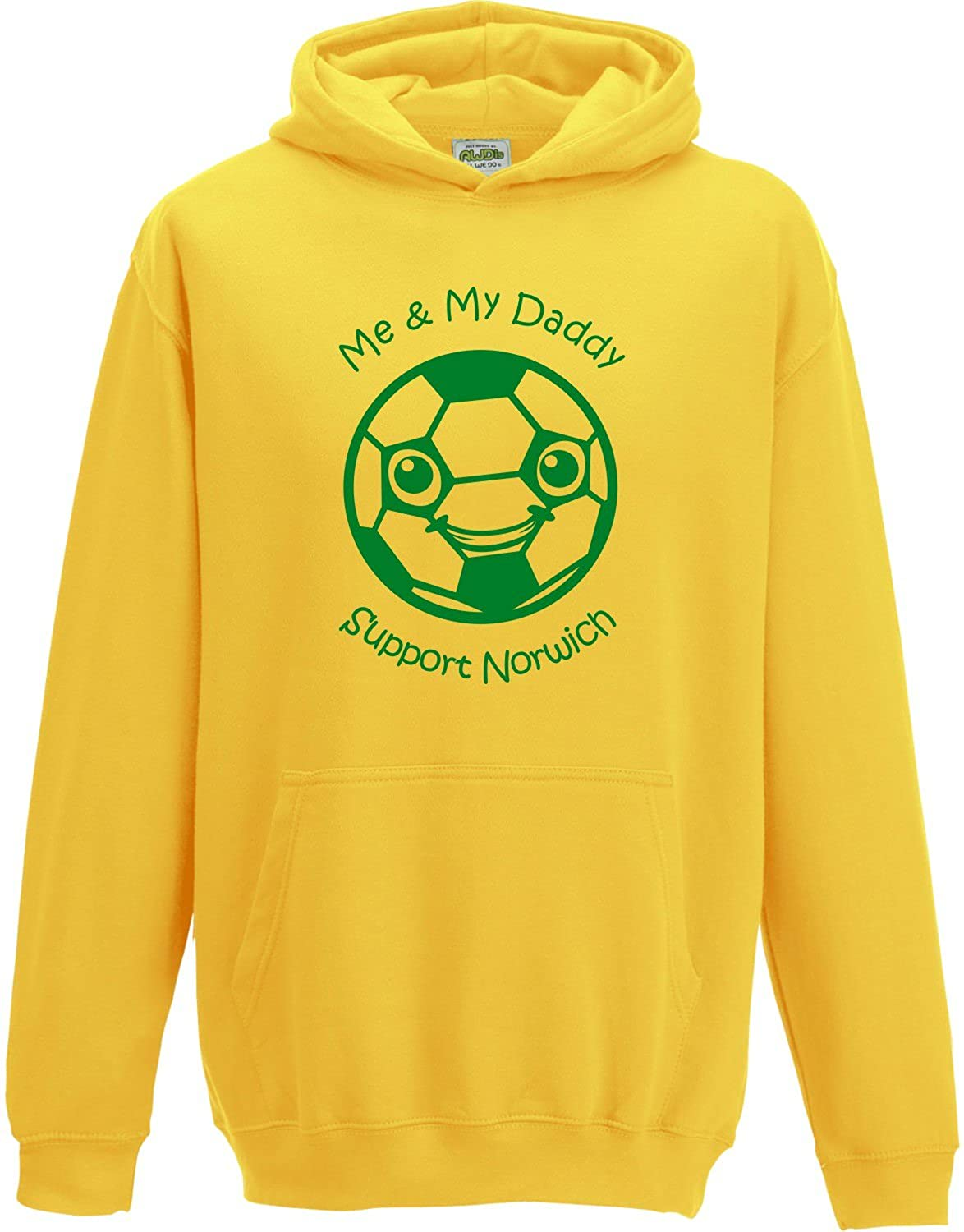 Hat-Trick Designs Norwich City Football Baby/Kids/Childrens Hoodie Sweatshirt-Yellow-Me & My-Unisex Gift
