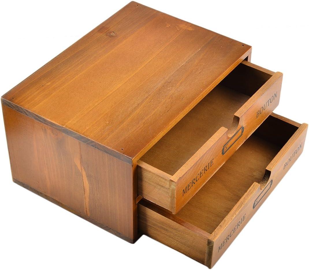 Lingxuinfo Storage Chest Box, Household 2-Drawer Wooden Storage Chest Box Office Desktop Organizers
