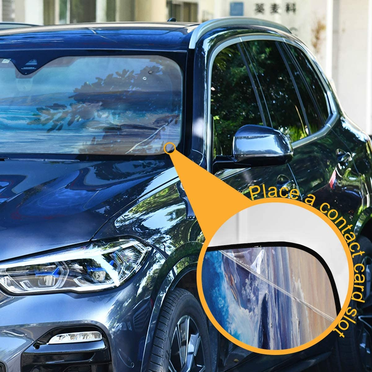 Blocks UV Rays and Keeps Your Vehicle Cool Foldable Car Front Window Sunshades for Most Sedans SUV Truck KEEPREAL Tropical Ocean Oil Painting Windshield Sun Shade