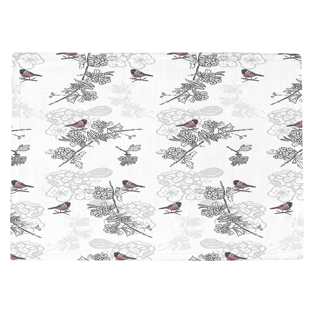 DIANOCHEキッチンPlaceマットby Artist Julie Ansbro – Hawthorn Blush鳥 Set of 2 Placemats PM-JulieAnsbroHawthornBlushBirds1 Set of 2 Placemats  B01N8T326P