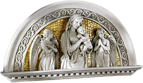 Design Toscano EU32624 Blessed Virgin and Child Religious Arch Wall Sculpture,two tone ivory gold