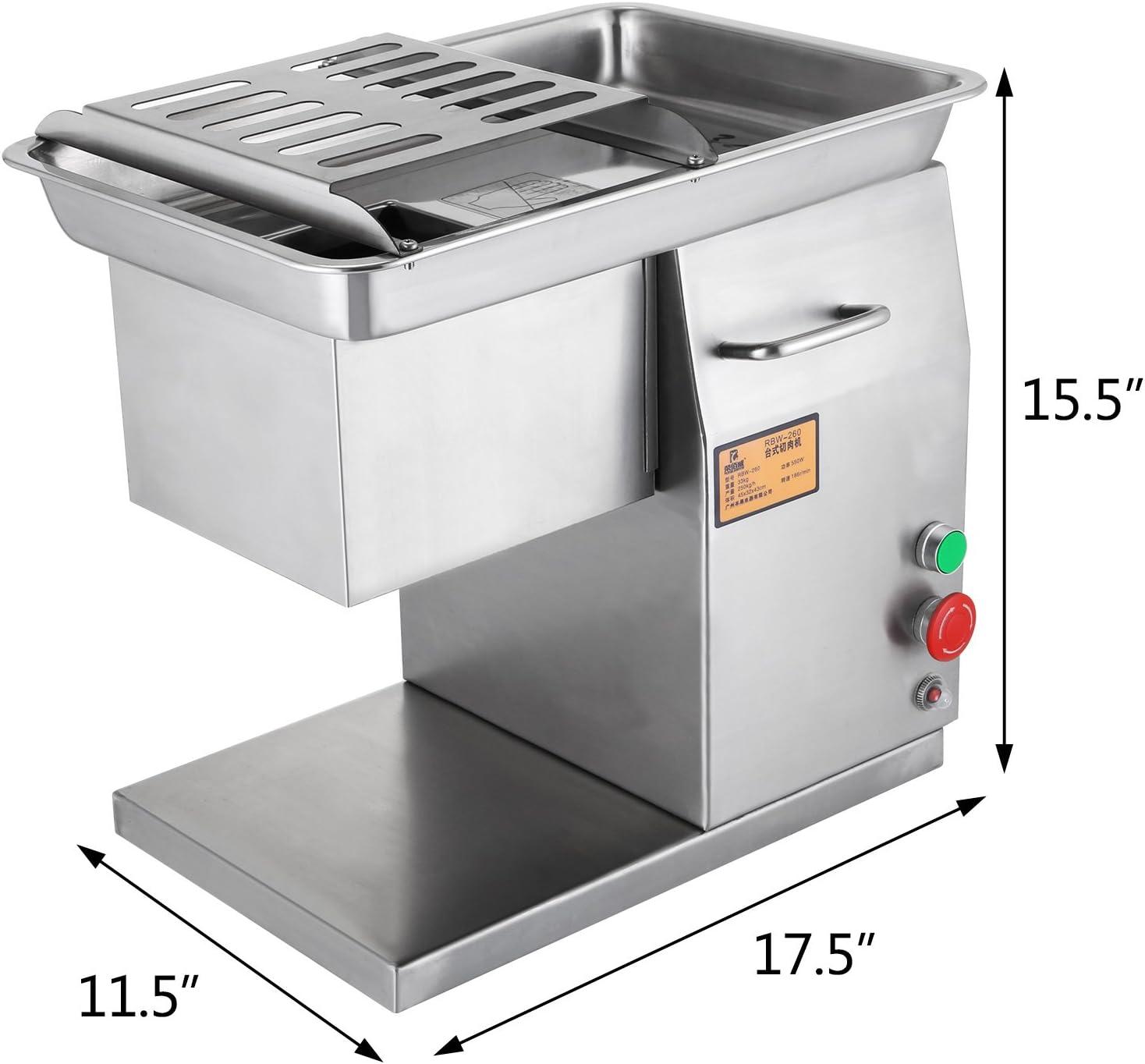 Cueffer 500W 250 kg/h Cortadora de Carne Máquina de Corte de Carne Máquina de Cortar de Acero con Espesor de 2mm-20mm Máquina Eléctrica de Cortar Carne para Restaurantes Meat Cutter Machine: Amazon.es:
