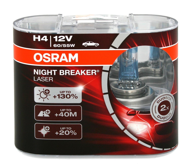 4x OSRAM Halogenlampe H4 NIGHT BREAKER LASER 12V 60//55W P43t-38 64193NBL-HCB