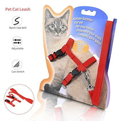 KAISHUITANGJIBA Cat Harness, Adjustable Cat Harness Nylon Strap Collar with Leash, Safety Walking Jogging