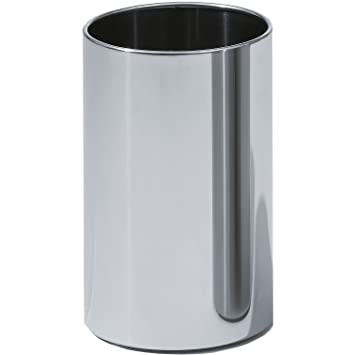 DWBA Bath Collection DWBA Round Open Top Stainless Steel Wastebasket Without Lid Cover, Polished Chrome