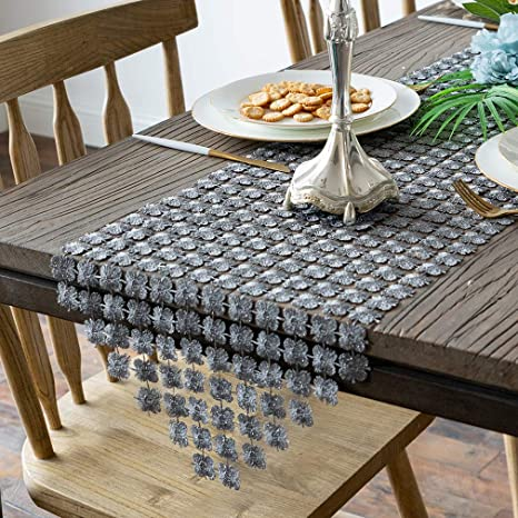 Amazon Com Valea Home Table Runners 12 X 72 Inch Glitter Clover Table Runner For Kitchen Wedding Bridal Shower Decorations Silver Grey Home Kitchen
