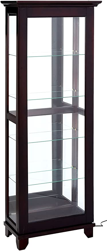 Bon Coaster Traditional Medium Brown 5 Shelf Curio Cabinet With Mirrored Back  And Can Lighting